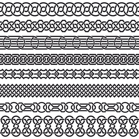 celtico: Il vettore immagine di insieme di confini Seamless vintage in forma di ornamento celtico
