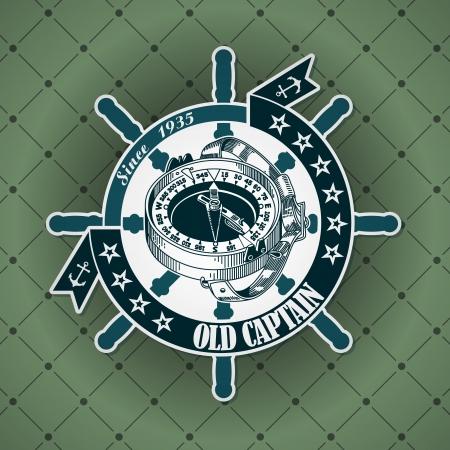 deportes nauticos: La imagen del vector vintage con etiqueta de un tema n�utico Vectores