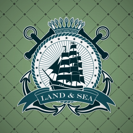sailing vessel: The vector image Vintage label with a nautical theme