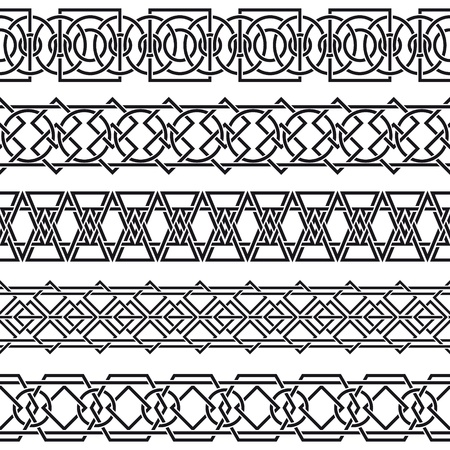 The vector image of set of seamless vintage borders in the form of celtic ornament Vector