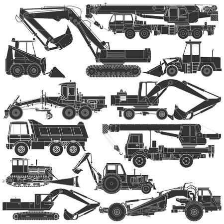 maschinen: Das Bild der Satz von Silhouetten von Baumaschinen