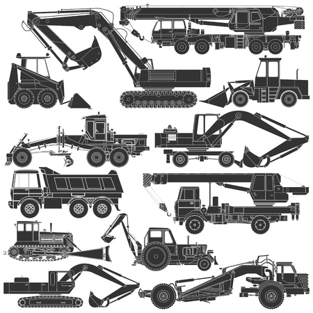 construction crane: The image of Set of silhouettes of construction machinery