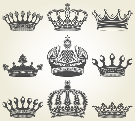 corona real: El conjunto de imágenes de coronas en el estilo vintage Vectores