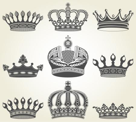 crown silhouette: L'immagine impostata corone in stile vintage