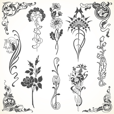 The  image Set of flowers in vintage style Stock Vector - 20694194