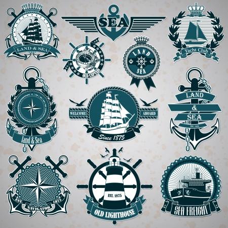 timone: Il vettore di immagine Set di etichette vintage con un tema nautico