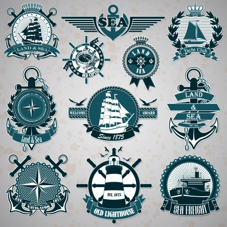 The vector image Set of vintage label with a nautical theme Vector
