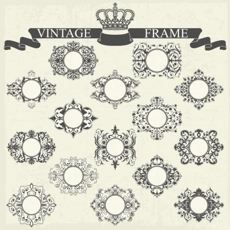 The vector image Big set of vintage frames