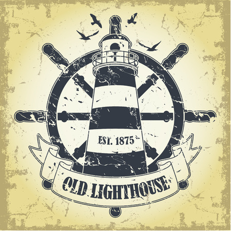 Lighthouse: Stamp with a nautical theme