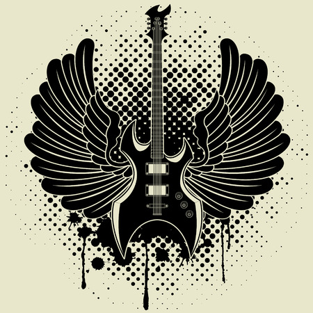 musician silhouette: Sticker on the shirt of a guitar of wings Illustration