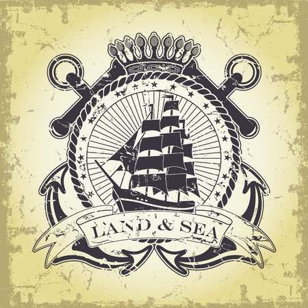 Stamp with a nautical theme Vector