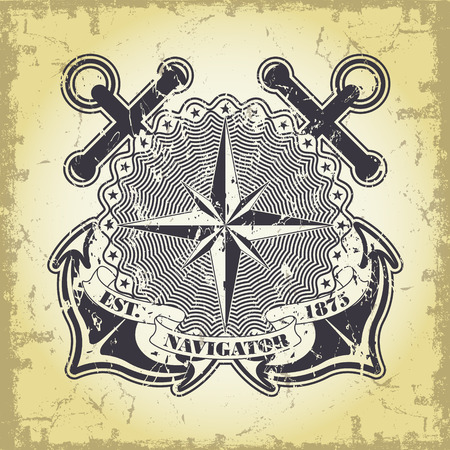 industrial ship: The vector image Stamp with a nautical theme Illustration