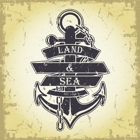 The vector image Stamp with a nautical theme Vector