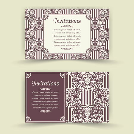 monetary: The vector image Set of floral invitation cards Illustration