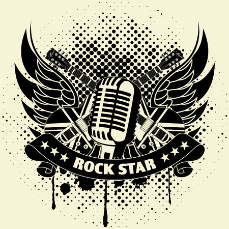 rock guitarist: Sticker on the shirt the image of a guitar of wings