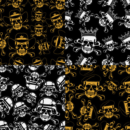 Set of backgrounds Seamless emblems of skulls Vector