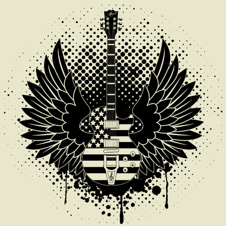 guitar player: Sticker on the shirt the image of a guitar of wings