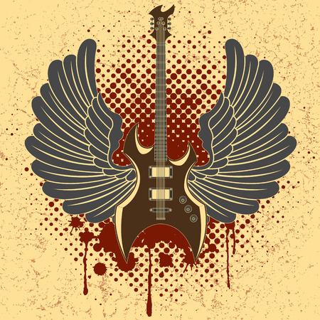 The vector image of Sticker on the shirt the image of a guitar of wings Vector