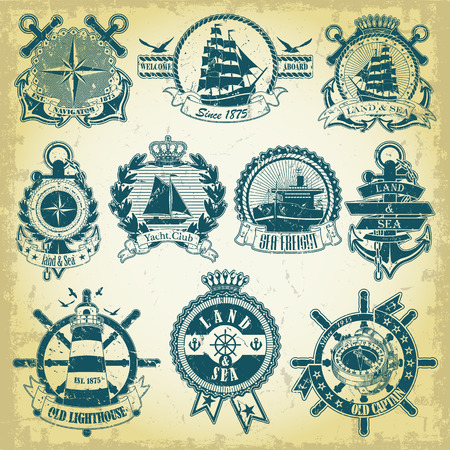 The vector image Set of stamp with a nautical theme