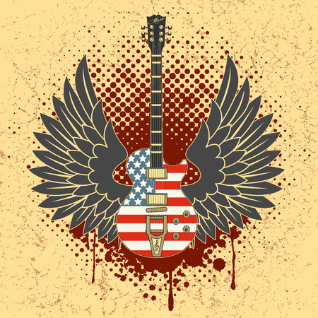 The vector image of Sticker on the shirt the image of a guitar of wings