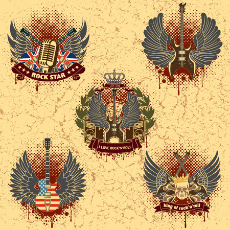 The vector image Set of sticker on the shirt the image of a guitar of wings