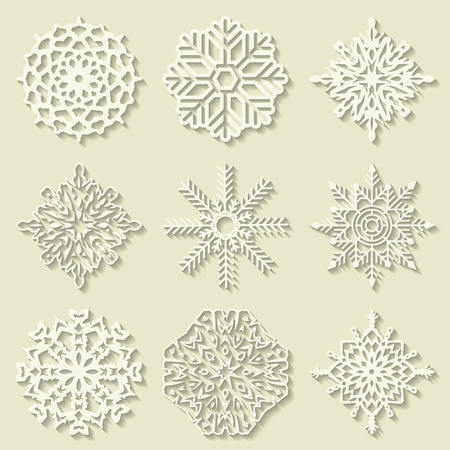 grungy email: The vector image of Set of snowflakes