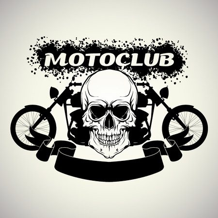 motorcycle helmet: The vector image of color Sticker on the shirt motoclub