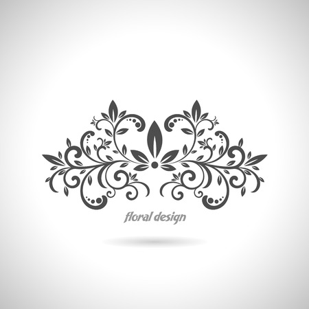 black and white plant: The vector image of Floral design element on white background