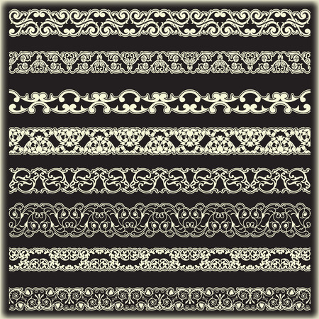 photo of pattern: The vector image Vintage border set for design