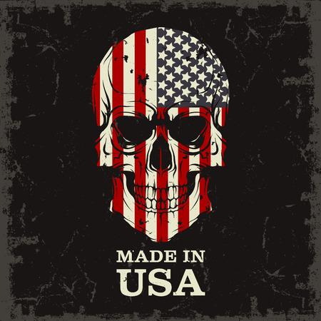 grunge skull: The vector image Skull color of the flag Illustration