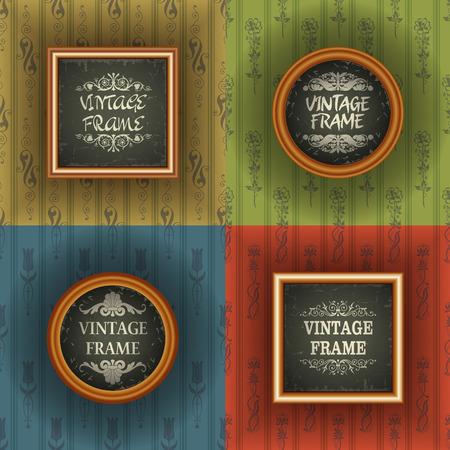 The image Set of old wallpaper with vintage frame Illustration