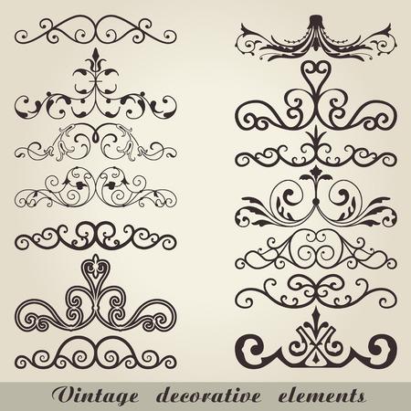 decoratif: L'image de vecteur d'éléments décoratifs Vintage
