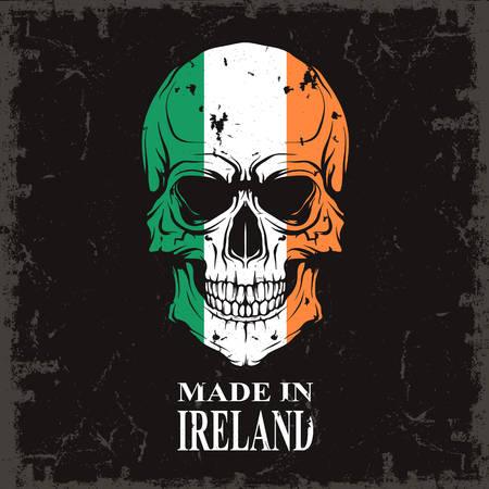 colour image: The vector image Skull color of the flag Illustration
