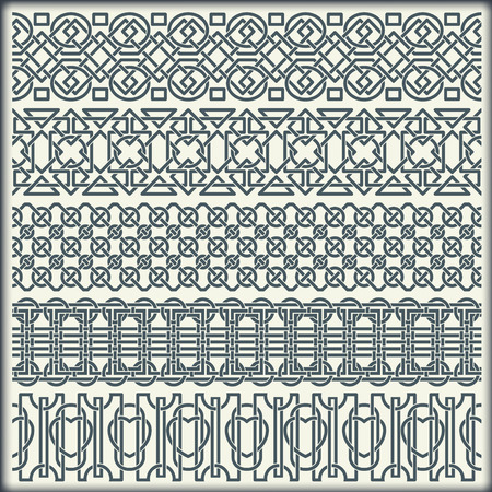 The vector image of set of seamless vintage borders in the form of celtic ornament