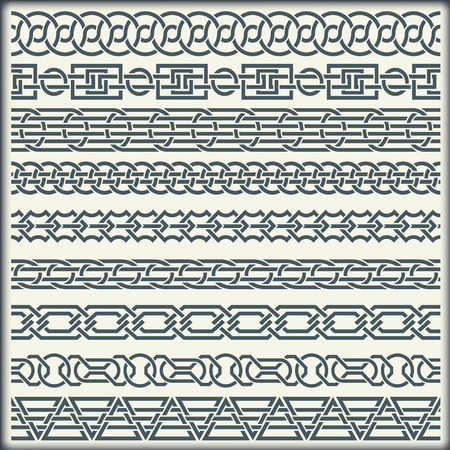 The image of set of seamless vintage borders in the form of celtic ornament