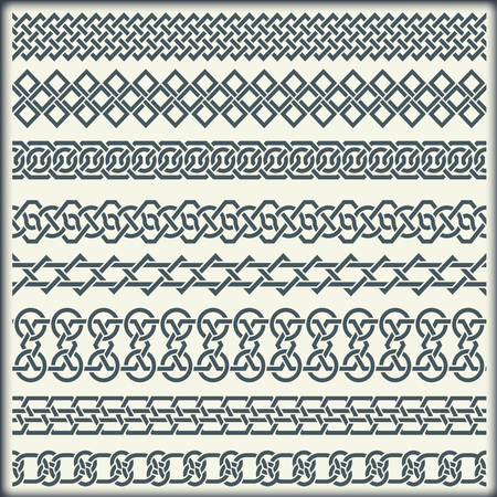 the irish image collection: The image of set of seamless vintage borders in the form of celtic ornament