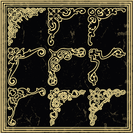 gothic revival style: The vector image Vintage design elements corners Illustration