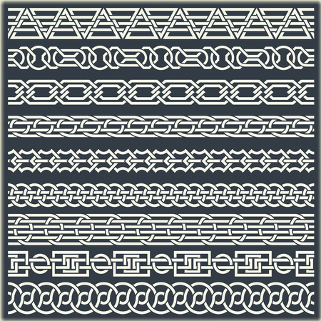 alfa: The  image of set of seamless vintage borders in the form of celtic ornament Illustration