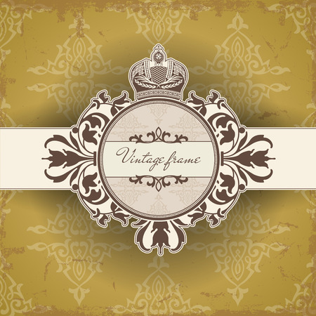 old postcards: The vector image Vintage frame with crown Illustration