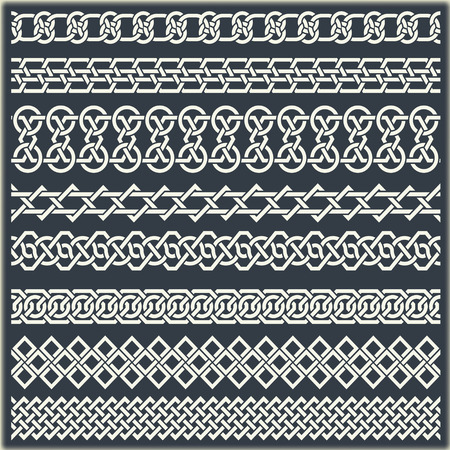 alfa: The vector image of set of seamless vintage borders in the form of celtic ornament