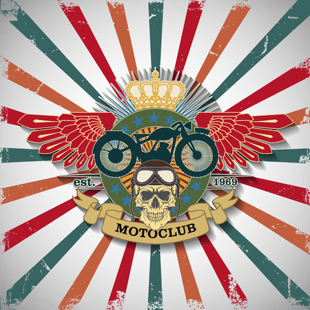 The vector image Stamp Moto club with a skull and wings. Ilustracja
