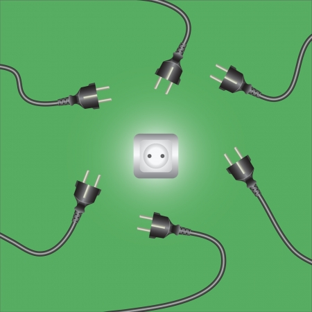 plugin: Computer power cords and outlet. Vector illustration.