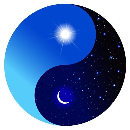 sol y luna: Día y noche en el símbolo del Yin y el Yang. Ilustración del vector.