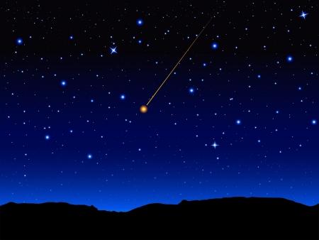 Cielo estrellado y el paisaje de montaña. Ilustración del vector.
