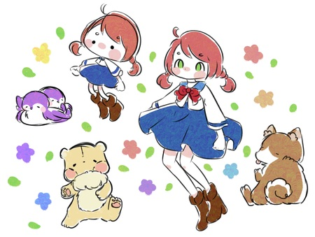 Doodle collection of girl, fluffy animals, and flowers. Stock Photo