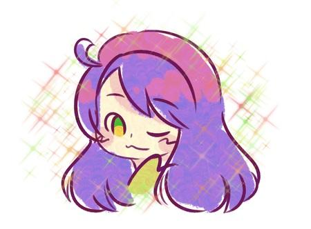 Purple hair girl with sparkles.