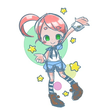 Doodle Girl with stars. Stock Photo