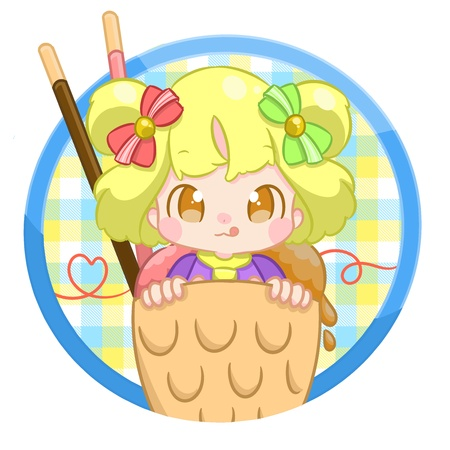 Girl with sweet hairbuns, eating ice cream . Stock Photo