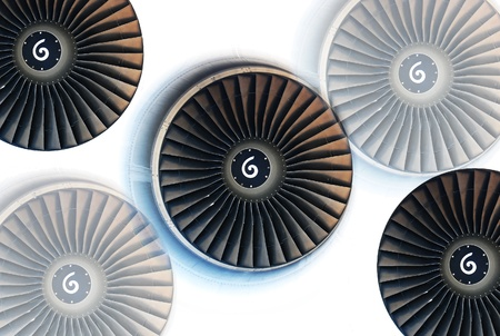 turbo: This Engine of an Aircraft turns counter clock wise which you can see on spiral symbol in the middle of the Turbine Stock Photo