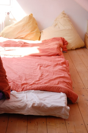 Matress on wooden floor under roof. There are some huge pillows as well Stock Photo - 9948421